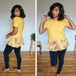 Tops - 2FOR $20| KELLY YELLOW RIBBED FLORAL HEM TOP